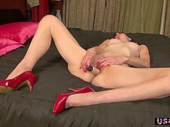 wearing only red high heels dirty minded slutty lady goes nuts about masturbation