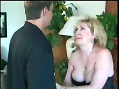 mature blonde housewife gives head on her knees in the guestroom