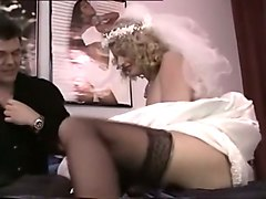 filthy and lusty blondie in wedding dress having wild sex