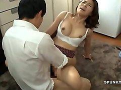 Japanese mom makes son cum hard &amp_ fast