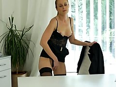 secretary playing with herself in the office