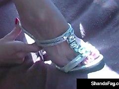 cougar shanda fay fucks & sucks in silver heels in a camper!