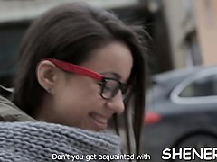 sexy teen in glasses is plan to experience real hardcore