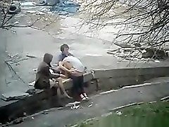 Daring teen at public place