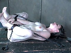 pale skin brunette wicked bitch shocks herself with electric device