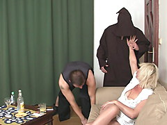 Two men screwing very horny old blonde woman