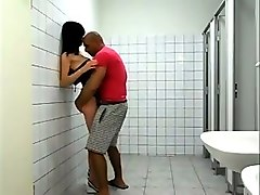 shagging skanky girl in standing pose in a toilet
