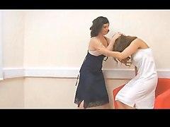 Vintage full slip ripping cat fighting