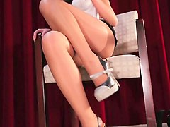 asian slut jerks me off with her feet wrapped in pantyhose