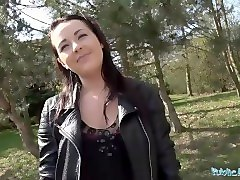 publicagent hot black haired russian fucked on a car hood for money