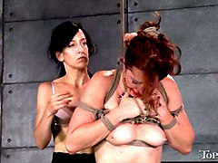 angry wife wearing strapon punishes tied up lover of her husband