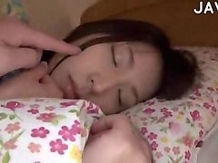 asian sleeping chick teased