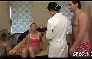 Virgin playgirl is bleeding during 3some fucking