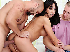 horny milf eva dark fucks a stranger in front of her husband
