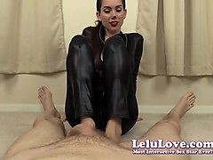 lelu love-catsuit black polish footjob cum on toes