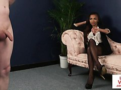 ebony voyeur instructs sub how to jerk off
