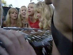 marvelous and pretty blondies on the bed fucked by one man