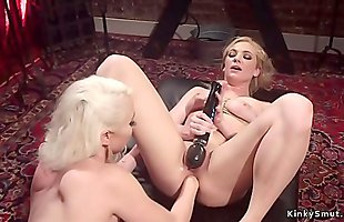 Blonde anal fisting her tied up slave