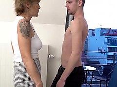 horny and nasty grandma sucking her grandson friend