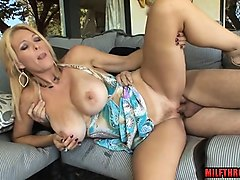 big tits mature blowjob with cumshot