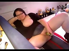 Fat BBW Teen Ex GF playing with wet shaven cunt