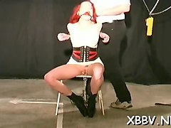 intense bdsm with busty woman