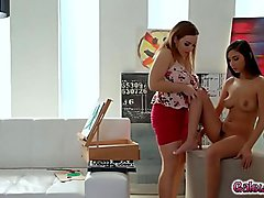 Natasha Nice overwhelms Gianna Dior with pleasure fingering and eating out her tight pussy as they both moans