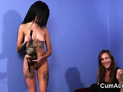 unusual doll gets cum load on her face swallowing all the ch