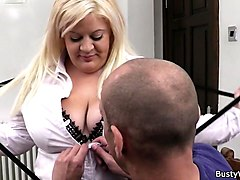 busty blonde secretary blowjob and cock riding
