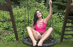School girl skirt so short that mini, Lucia Outdoors fun with her skirt is flying