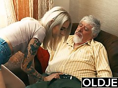 old and young teen blonde fucked by old man tight pussy cock