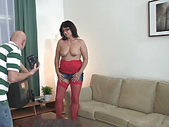 Perverted mature couple seduce son's young gf