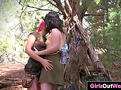 hiking lesbian babes fuck in the forest