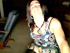 cute college crossdresser stroking it on webcam