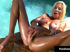 swedish milf puma swede rubs pussy raw with oily dick dildo!