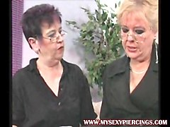my sexy piercings two pierced lesbian grannies in stockings