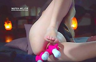 Cute Petite Amateeur Teen 3 Double Dildo Both Holes