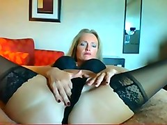 rather flexible big racked blond haired housewife was riding huge dildo