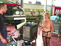 two young boy seduce big tit german milf to fuck in workshop