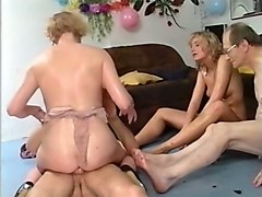 two blonde european skanks and two guys having birthday orgy
