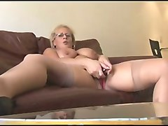 lewd chubby blond haired cougar in red lingerie was teasing her slit