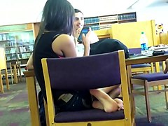 candid, feet, college girl, library, desi