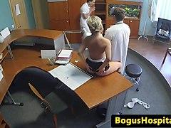 pussylicked nurse cocksucking doctor in trio