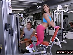 Hot teen babe asshole fucked in the gym