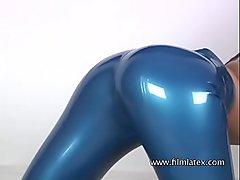 Catalina - Black Latex Midriff &amp_ Blue Latex Pants