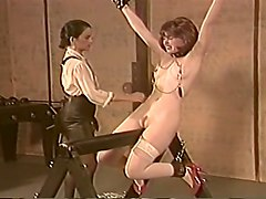 awesome lesbian classic bdsm session with redhead lady