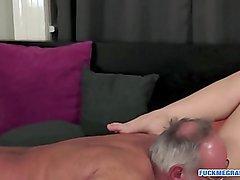 Grandpa enjoys fucking a firm babe