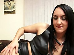 this hot brunette loves to wear latex thigh high boots while masturbating