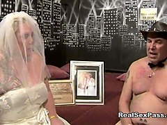 old fat filthy bride has orgy along with bridesmaid