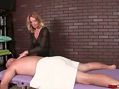 blond haired masseuse provided my buddy with a handjob in the parlor